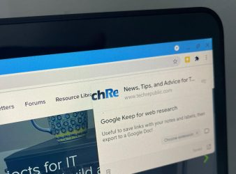 Photo of Chromebook, with Google Keep Chrome Extension having just been selected on the TechRepublic.com home page, with a note open and text entered