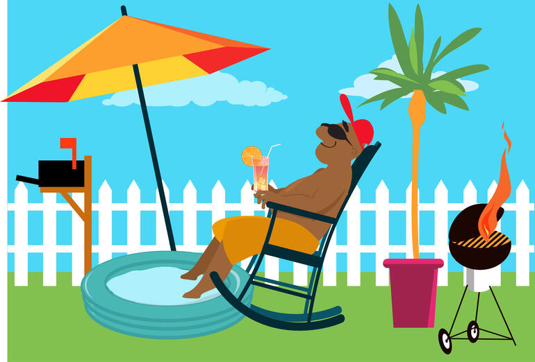 Man enjoying a staycation at the backyard under an umbrella, EPS 8 vector illustration